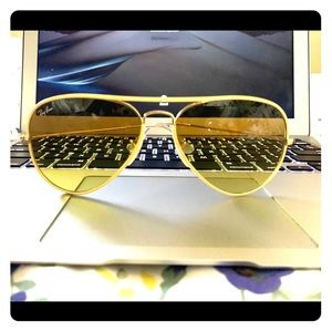 Ray Ban Yellow Vanilla Aviators Sunglasses